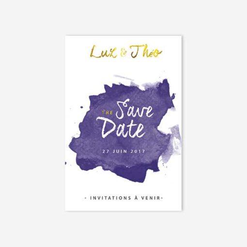 save the date bleu et doré