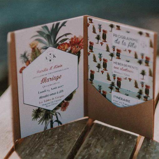 faire-part de mariage tropical et ananas