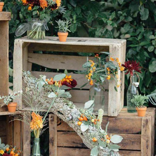 location de caisse en bois vintage mariage