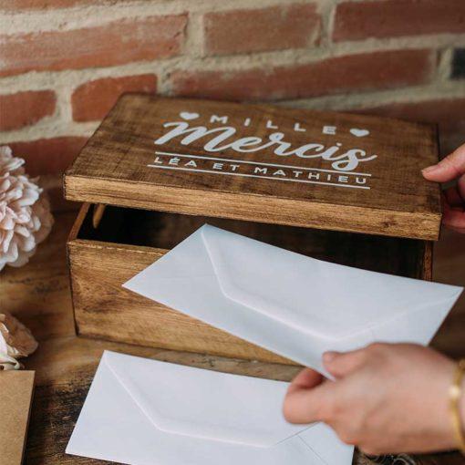 urne en bois de mariage