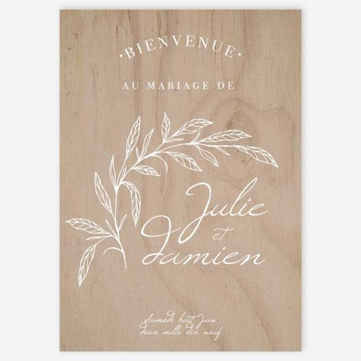 panneau d'accueil bienvenue mariage fine art