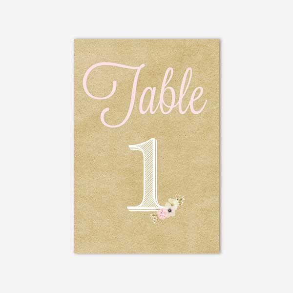 numero de table dentelle