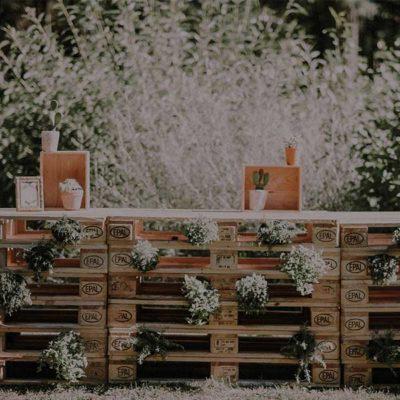 Bar mariage en palette