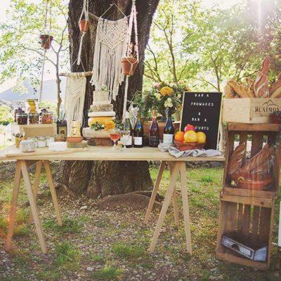 table en bois mariage