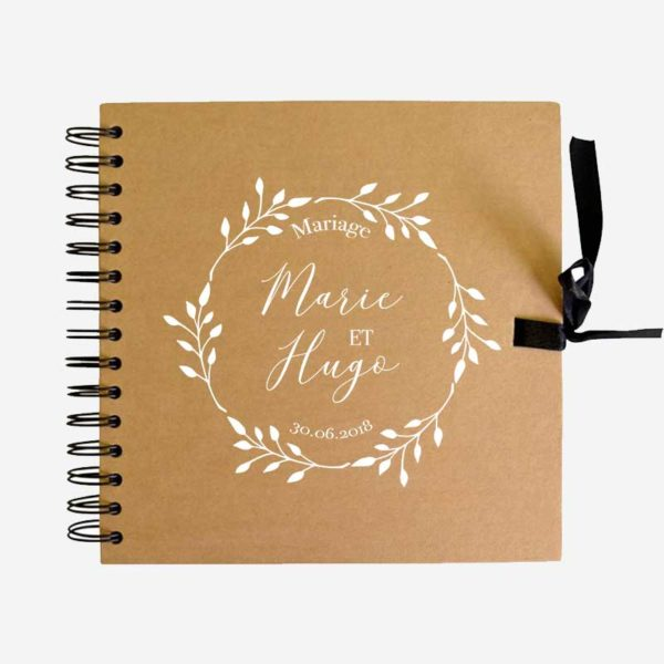 Livre d'or mariage couronne feuillage