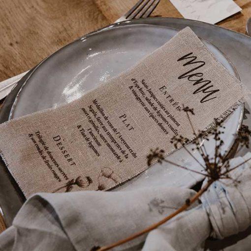 menu mariage tissu