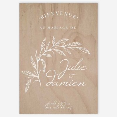 panneau d'accueil bienvenue mariage fine art