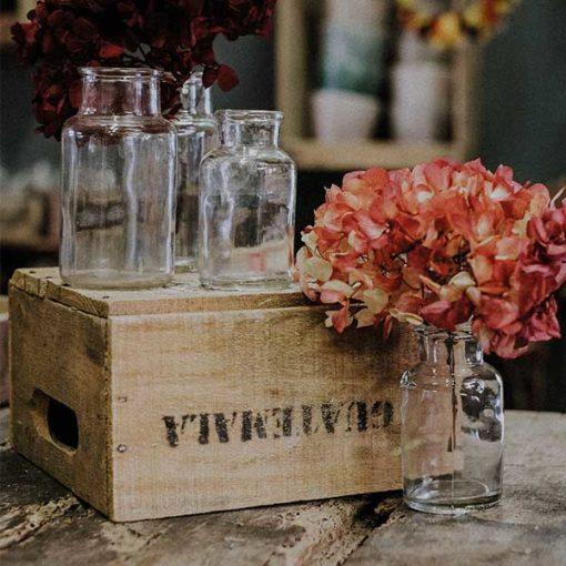 vase ancien transparent pour fleurs mariage