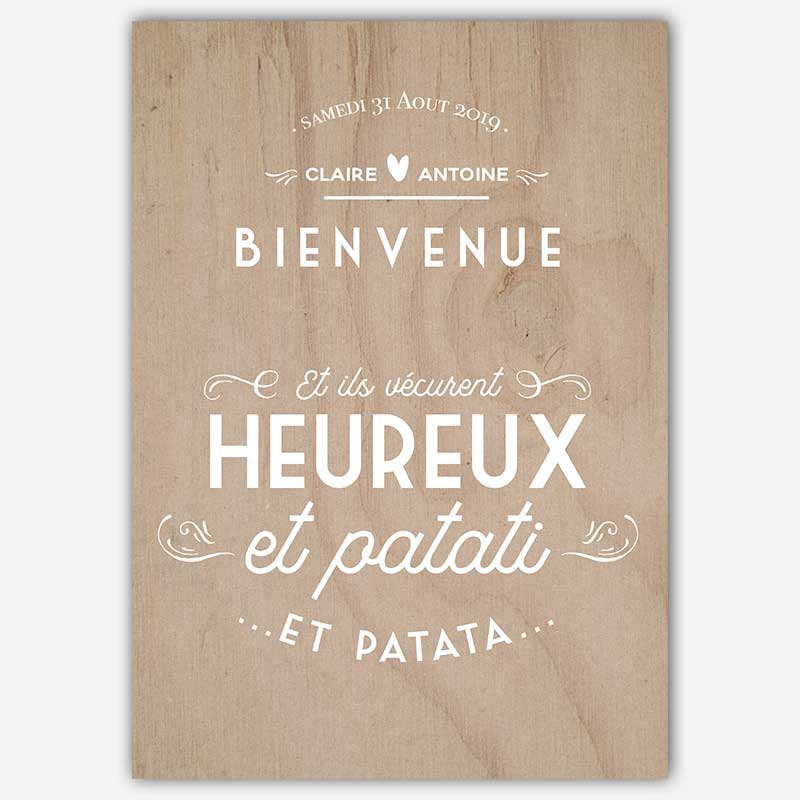 panneau d'accueil bienvenue mariage patati patata