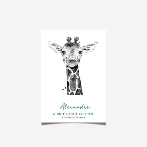 affiche naissance girafe