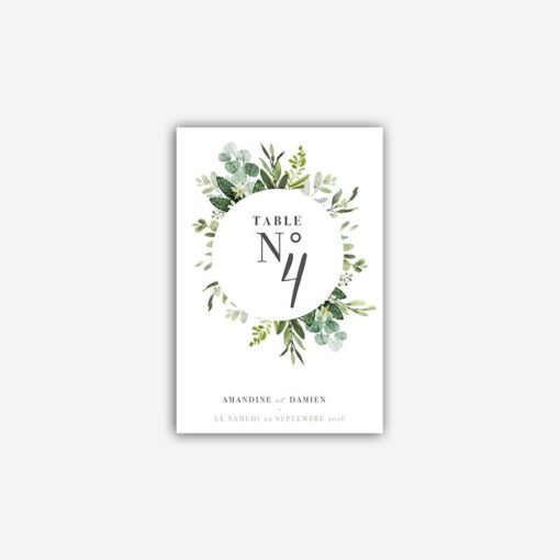 nom de table mariage vert eucalyptus