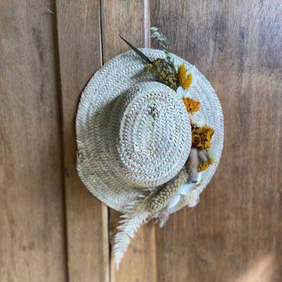 chapeau osier fleuri