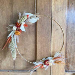 couronne fleurs séchées laiton doré