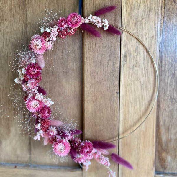 couronne de fleurs séchées laiton doré