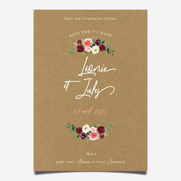carton date de report de mariage