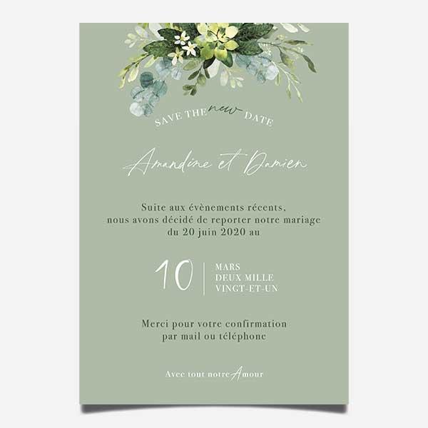 report de date mariage carton numerique