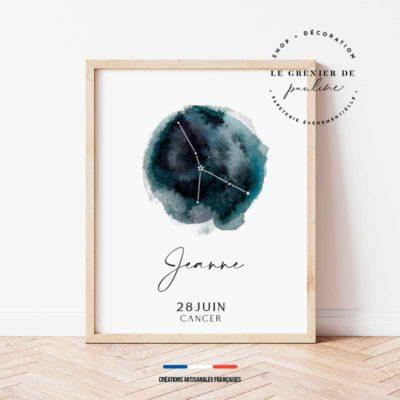 affiches signe zodiaque, étoiles et constellation