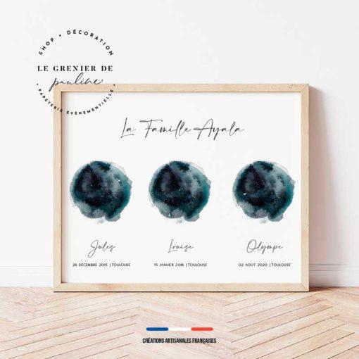 affiche personnalisée cosmos irma horoscope moon carte du ciel constellations étoiles