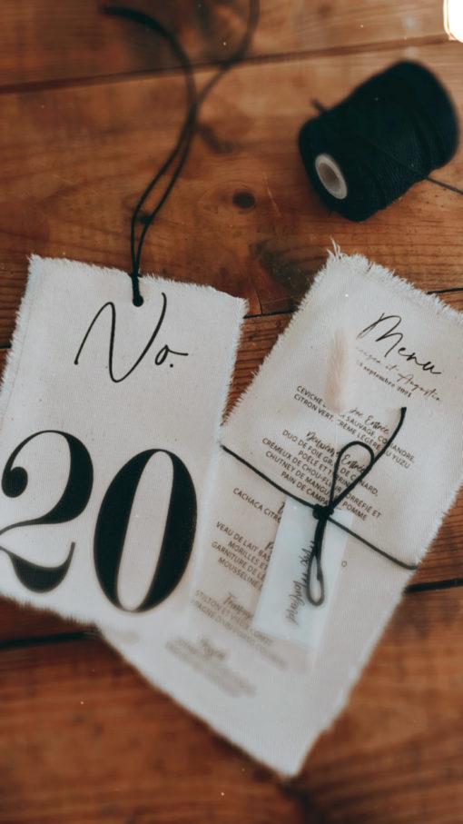 numero de table tissu
